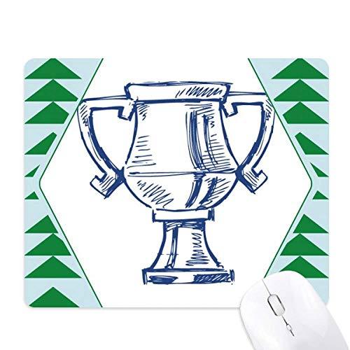 Voetbal kampioenschap trofee blauwe muismat groene dennenboom rubberen mat