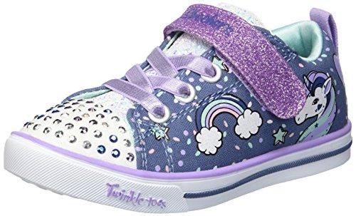 Skechers girls Twinkle Toes - Sparkle Lite 10988l Lights (Little Kid/Big Kid) Sneaker, Denim/Lavendar, 11.5 Little Kid US