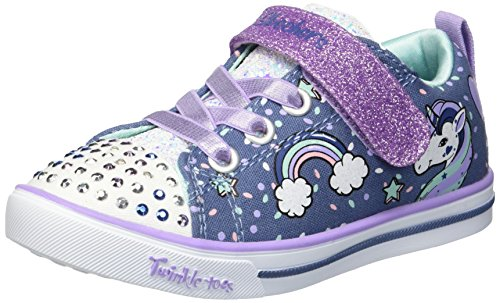 Skechers Kids Girls Sparkle LITE-Unicorn Craze Sneaker, Denim/Lavender, 3 Little Kid
