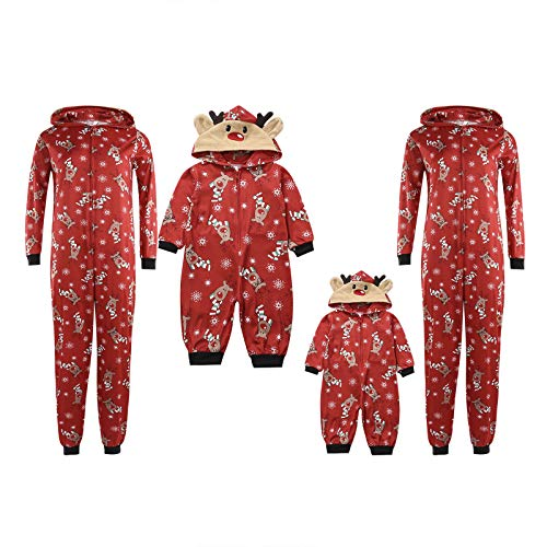 Carolilly Familie Schlafanzug Pyjama Weihnachten Baby Kinder Mama Papa Xmas Rentier Hausanzug Nachtwäsche