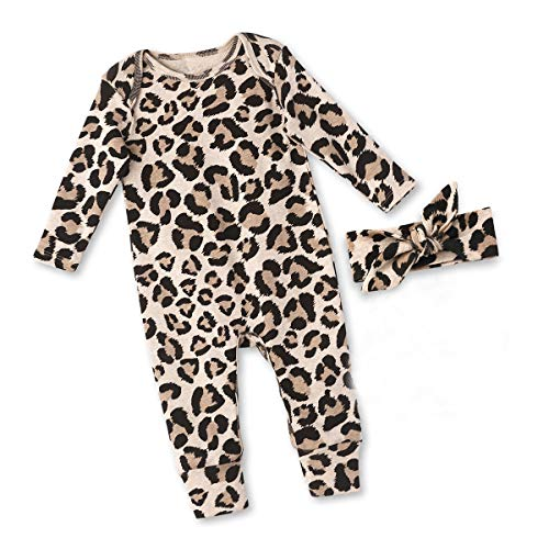 Newborn Baby Girl Clothes Leopard Long Sleeve Footless Romper Jumpsuit Cotton Cheetah Outfit 3-6 Months