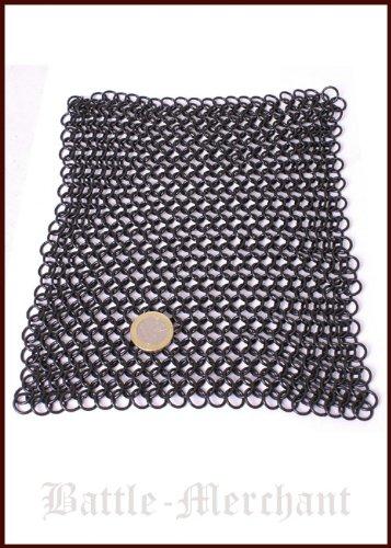 Battle-Merchant Kettenstück 20 x 20cm, unvernietet, ID8mm, brüniert für Kettenhemd, Kettenhaube selber Machen