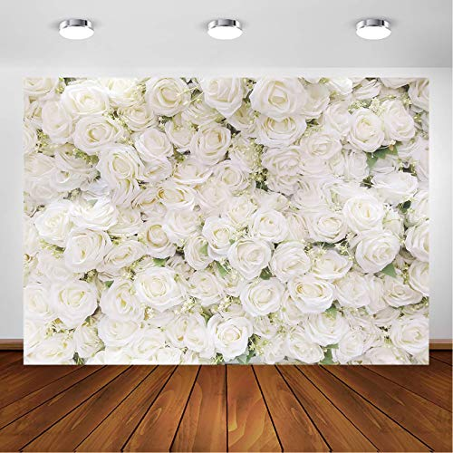 Avezano White Flower Backdrop for Party Photoshoot Wedding Floral Wall Bridal Shower Party Decoration Photography Background White Rose Florals Backdrops Portrait Photographic Studio (7x5ft)