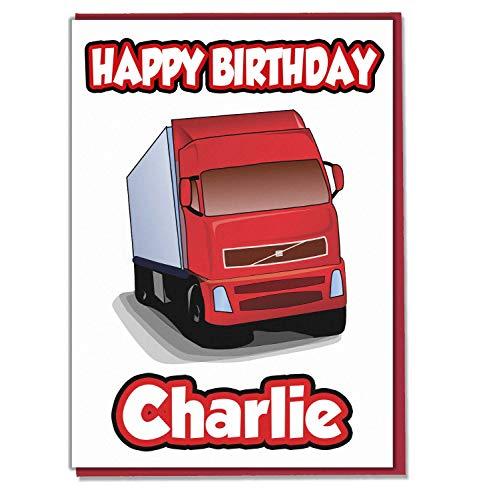 AK Giftshop Gepersonaliseerde Rode Vrachtwagen HGV Verjaardagskaart - Elke Naam Leeftijd Relatief