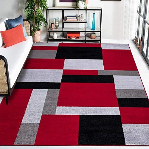 Geometric Rug Bedroom Carpet Living Room Area Rugs Kitchen Runner Hallway Floor Mat Door Mat (Black-Red, 200 x 290 cm)