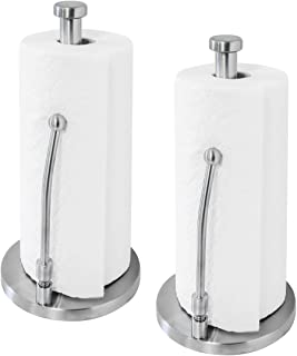 Paradis Brushed Stainless Steel Paper Towel Holder Stand, Kitchen Towel Holder, Kitchen Paper Towel Holder, Standing Paper Towel Holder, Kitchen Roll Holder, Modern Stand Up Design - Pack of 2