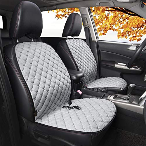 CAT-JXW Car Seat Pad - 12V Car Front Heated Heater Seat Cushion Cover with Thermostat HI/LO Mode Single/Two Seat,Grey-2seat