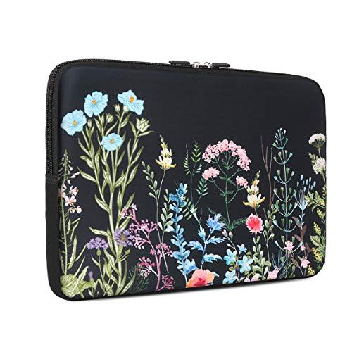iCasso 13 - 13.3 inch Laptop Sleeve Bag, Waterproof Shock Resistant Neoprene Notebook Protective Bag Carrying Case Compatible MacBook Pro/MacBook Air - Weeds