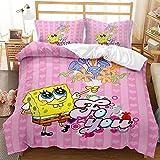 Satauly Spongebob Bedding Set Spongebob Duvet Cover Sets for Kids Boys Girls Comforter Sets Twin Size 2 Pieces Spongebob Pink Bed Sets 1 Duvet Cover 1 Pillowcase, No Comforter Included