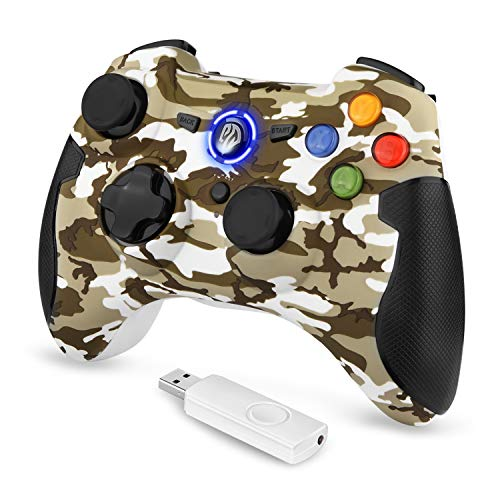 Manette PS3 PC sans Fil, EasySMX 9013 Manette PC sans Fil, Manette PS3 avec Dual Shock, Compatible pour PC Windows XP/Vista, Windows 7/8/8.1/10, PS3, Android(Via OTG)-(Camouflage Jaune)