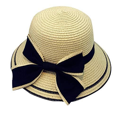 YEZIJIN Summer Parent-Child Women Baby Kids Girl Mom Beach Straw Flat Brim Sun Hat Cap 2019 Best Outdoor Sun Visor Hat Beige