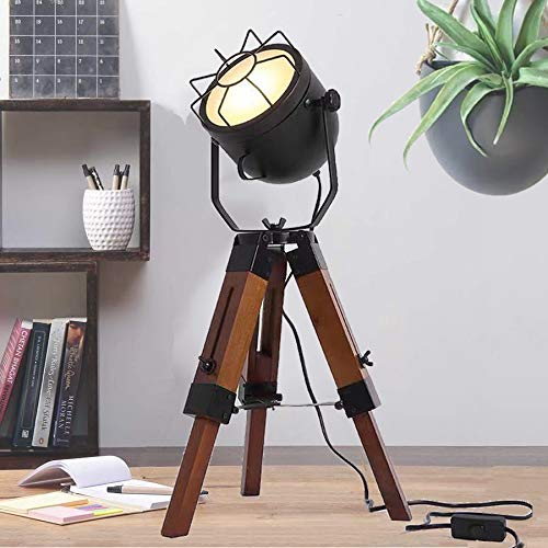 Modern Edison Adjustable Vintage Tripod FloorTable Lamp - Industrial Minimalist Designer Wooden Standing Light - Retro Cage Lamp Movie Style for Desk, Studio,Living Room Lamp Decoration (Tall)