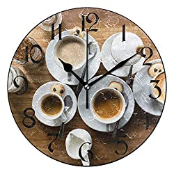 VVIEER Home Decor Easy to Hang 10 Inch Coffee Foam Cup MeaSaucer Ceramic Round Fashion Wall Clock Silent Non Ticking