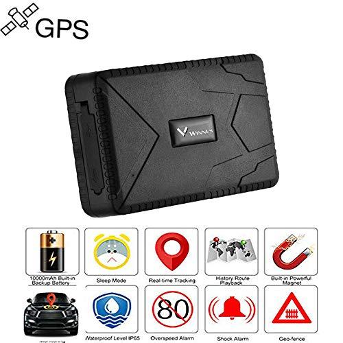Winnes GPS Tracker tracking in Tempo Reale 4 Mese Pausa -GSM, SIM, SMS GPS Localizzatore Tracciatore di Posizione Antifurto per Auto/ Veicoli/ Moto Camion con Magnete Batteria da 10000mAh TK915