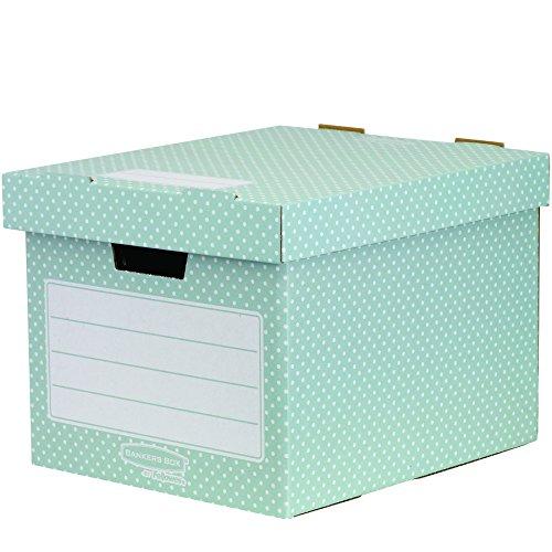 Bankers Box Style Series Aufbewahrungsbox aus 100{a31aeb399162a266c20201ffa064deda0780d82ebc4280c9899ce50e45f5244f} recyceltem Karton, 4-er Pack, grün/weiß