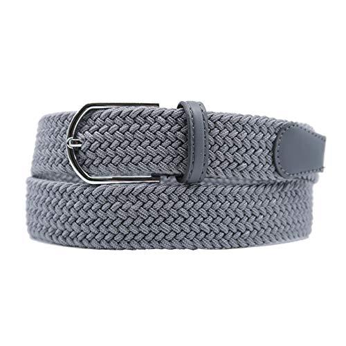 YEHMAN - Cintura elastica intrecciata unisex, senza foro, 110 cm grigio Medium