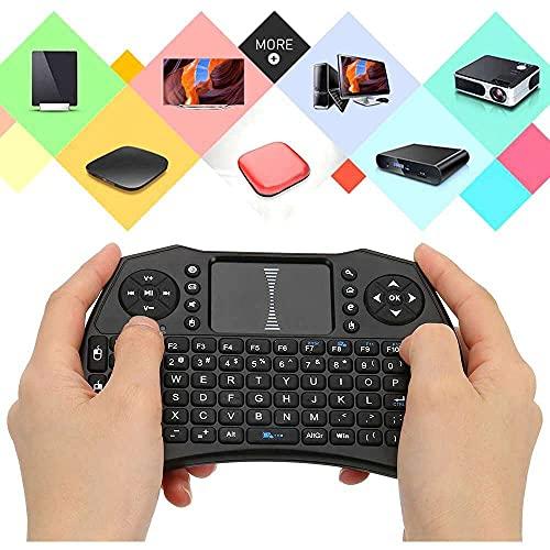 Yuyanshop Teclado inalámbrico portátil Mini teclado inalámbrico remoto 2.4GHz receptor USB QWERTY para Android TV Box Touchpad A8 Mini teclado inalámbrico (negro)