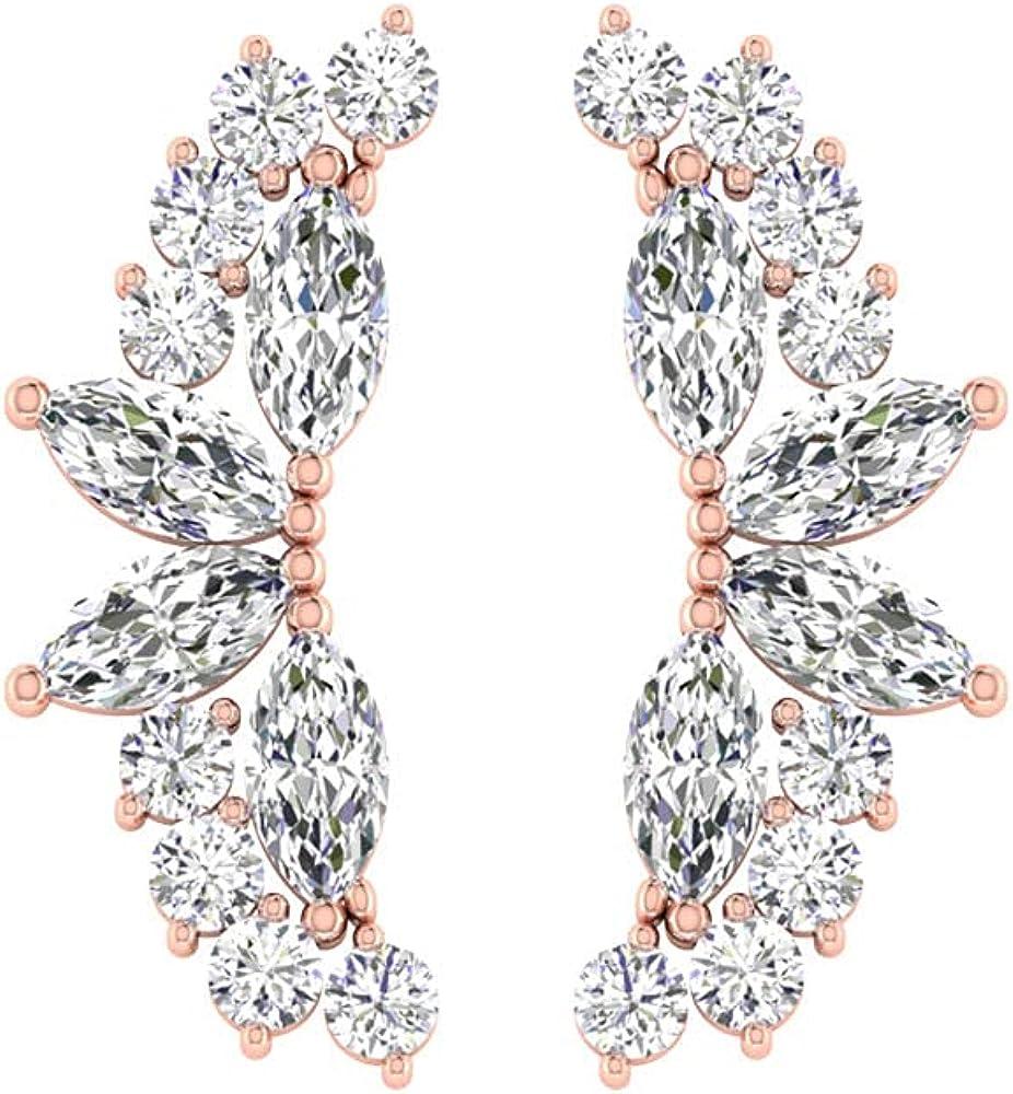 SGL Certified 0.18 Ct Diamond Cluster Earring, Marquise Shape Diamond Ear Cuffs, Vintage Climber Earring, Cartilage Earring, Body Jewellery, Screw back