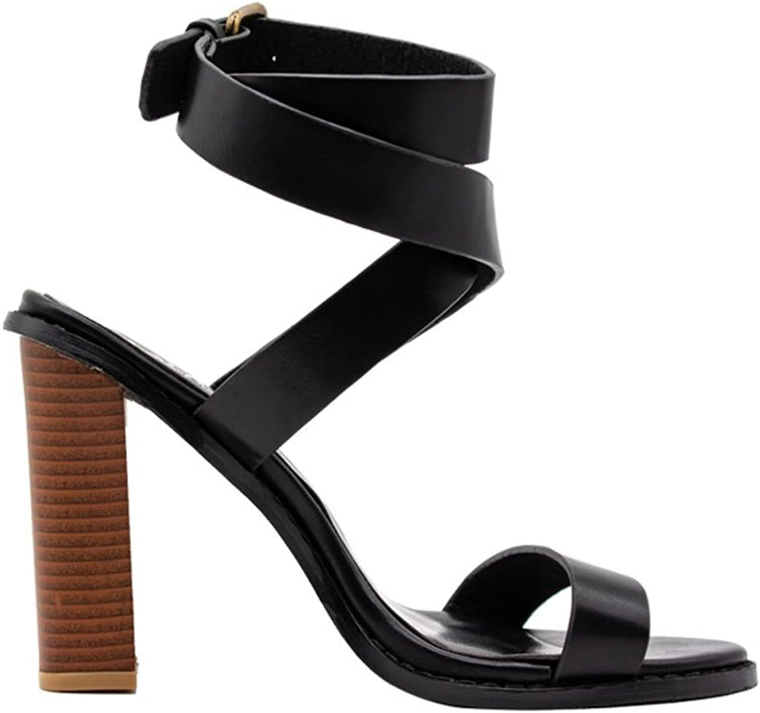 Genepeg Womens Sandals Buckle Strap Square Heels Casual Gladiator Open Toe High Heels