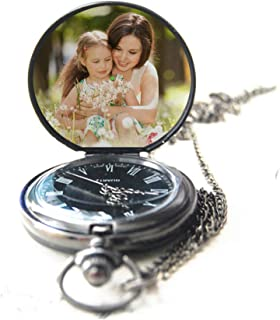 Personalized Pocket Watch Custom Photo Pocket Watch with Chain for Men/Women Engraved with Any Words, A Great Gift for Father and Boyfriend.
