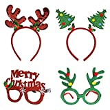 Christmas Headbands Party Fancy Glasses Frames with Reindeer Xmas Tree Glitter Designs for Holiday Costume Photo Booth Eyeglasses Hats, 4 Pack
