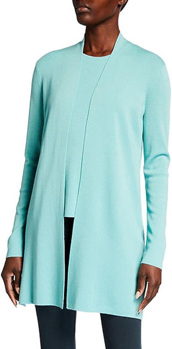 Eileen Fisher Sea Green Ultrafine Merino Wool Long Cardigan Size S/P MSRP $318