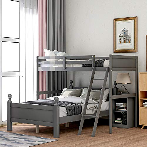 Loft Bunk Beds, Rockjame Twin Over Full Loft Bed, Wood Bunkbed Frame with Cabinet, Ladders, Shelves, Safety Rail, and Strong Slat Support, Perfect for Kids and Teens (Gray)