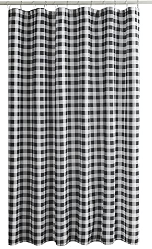 Biscaynebay Textured Fabric Shower Curtains, Black & Grey 72 Inches by 72 Inches, Printed Checkered Bathroom Curtains Machine Washable
