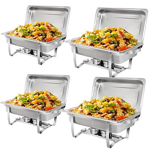 SUPER DEAL 8 Qt Stainless Steel 4 Pack Full Size Chafer Dish w/Water Pan