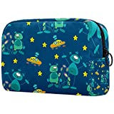 Bolsa de maquillaje portátil con diseño de estrellas y extraterrestres, bolsa de cosméticos impresa, bolsa de cosméticos para mujeres