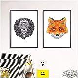Lion and Fox Geometric Set Canvas Art Print Painting Poster Wall para la sala de estar Decoración del hogar del dormitorio Decoración-50x70cmx2 piezas Sin marco