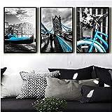 Frameless Malerei Ölgemälde Wohnzimmer HD Drucke Wohnkultur 3 Stück City Blue Aufzug Fahrrad London Bridge Poster Wall Art Bilder No Frame Paintings Hanging (Size (Inch) : 35cmx50cmx3pcs)