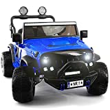 2021 Two (2) Seater Ride On Kids Car Truck with Remote Large 12V Battery Licensed Kid Car to Drive 3 Speeds, Leather Seat, MP3 Music by Bluetooth, FM Radio, Rubber Tires - Blue