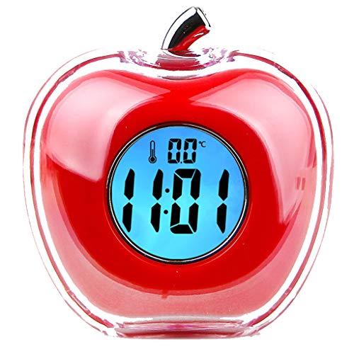 Wekker Apple Vorm Elektronische Kristal Magic Nachtlampje Mute Slaperige Luie Temperatuur Moderne Mode Eenvoudige Bed Mooie Huis Creatieve Persoonlijkheid 3 Kleur Optioneel 8cm*5.5cm*8.3cm