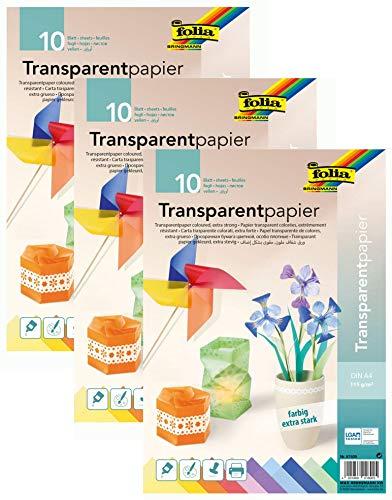folia 3er Pack 87409 - Transparentpapier, farbig Sortiert, DIN A4, 10 Blatt, 115 g/qm - ideal zum Basteln, für Fensterbilder, Windlichter