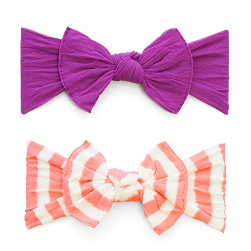 Baby Bling Bows 2 Pack - Girls Classic Knot Headbands Azalea and Coral Stripe