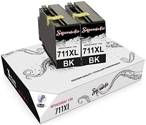 Squuido 2 Negro Cartuchos de Tinta CZ129A 711 XL 711XL compatibles para HP DesignJet T520 T120 | Alto Rendimiento 2300 páginas
