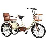Triciclo de Adultos Triciclo Adulto Triciclos Adultos 20 Pulgadas De Tres Ruedas Bicicleta De Carga Bicicleta De Carreras Bicicleta Con Asiento Respaldo Triciclo Plegable Para Personas Ma(Color:Beige)