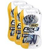 BIC 3Stück HighEnergy 4Rasierer Flex 3Comfort zu 3Klingen Mobile Kopf Pivot + Gleitstreifen