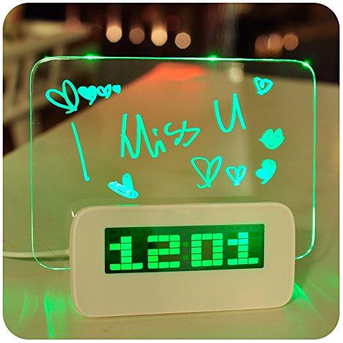 GX&XD LED Luminoso Digital Reloj Tablero de Mensajes Despertador con Calendario Alimentado por batería Super silencioso Reloj-A
