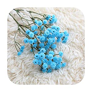 Silk Flower Arrangements F-pump Blue/Pink/Yellow Gypsophil Artificial Flower Baby Breath Fake Silk Floral Plant Home Wedding Party Decoration Products Dropship-Blue-