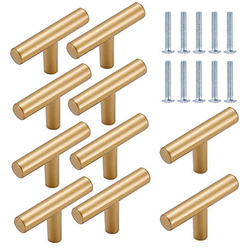 TheStriven 10 piezas Perilla de Cajón en Forma de T Cajón Perillas Tiradores en T para Armarios de Cocina Tirador en forma de T Pomos y Tiradores de Muebles para Puertas, Armarios, Cajones (Dorado)