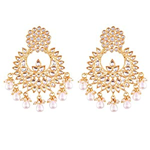 I Jewels Traditional Gold Plated Chandbali Earrings Encased With Faux Kundans For Women/Girls (E2456WM)