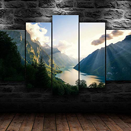 MMSY Modern Multi Panel 5 Pieces Wall Art Picture Ready To Hang Canvas Prints Wall Art For Swiss Alps Mountains Home Decorations Artwork 5 Piece Stretched And Framed Giclee Canvas Prints