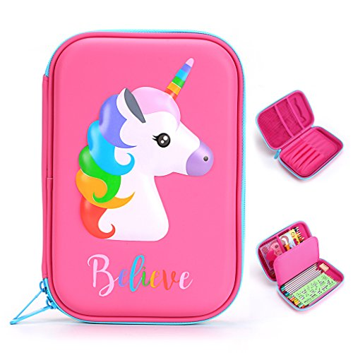 BTSKY Cute Unicorn Hard Shell Pencil Case- Large EVA Colored Pen Holder Box With Compartments Girls Cosmetic Pouch Bag Stationery Organizer(red)