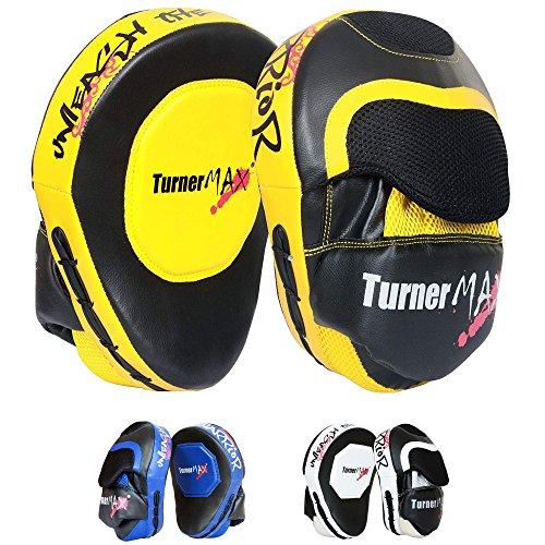 TurnerMAX Juego de boxeo Focus almohadillas, Gancho y Jab Pads, Kick almohadillas, almohadillas curvado, artes marciales, Muay Thai MMA UFC amarillo