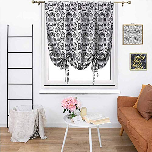 MartinDecor Vintage Blackout Tie Up Shade Curtain, Hand Drawn Sketch Style Monochrome Digital Wrist Analog Watches Bird Wall Clocks Thermal Insulated Rod Pocket Curtain for Home, 48x72 Black White