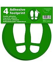 Señal adhesiva huella para suelo. | Separadores para colas de comercios | Pack de 4 unidades de 19 cm