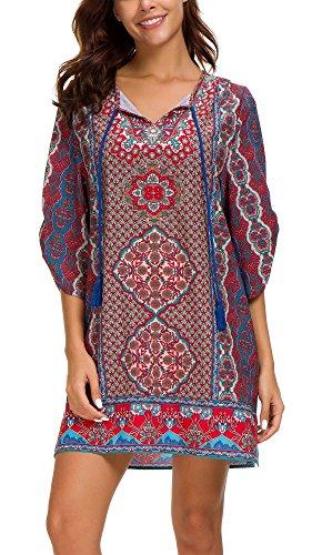 EXCHIC Damen V-Ausschnitt Tunika Sommer Strandkleid Minikleid Bohemian Kleider (2XL, 4) …