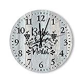by Unbranded Reloj de pared de madera de 30,5 cm, Babe, You Had Me at Merlot, cuarzo funciona con pilas, decoración de cocina, sala de estar, dormitorio, oficina